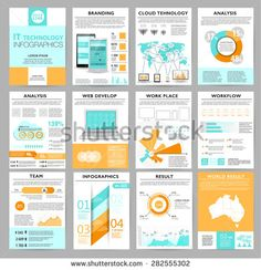 Big set of infographics elements in modern flat business style. Vector illustrations of modern infographics about IT. Use in website, flyer, corporate report, presentation, advertising, marketing. A4