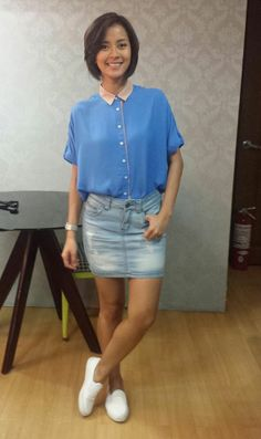 [Uber OOTD:Jun18-2014] Top and denim skirt from FH