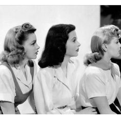 1940s hairstyles Judy Garland, Hedy Lamarr,  and Lana Turner