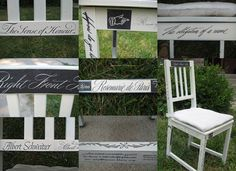 Decoupaged chairs. This would be a great way to add a personalized touch to your home or an outdoor garden wedding.