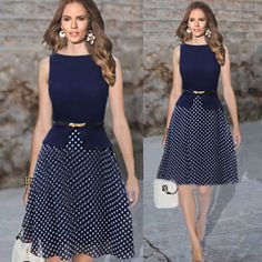2014 New Summer Party Dresses Dark Blue Garment Women Casual Dress Polka Dot Print Chiffon Vestidos Ladies Elegant LQ4458-in Apparel & Acces...