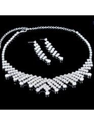 Gorgeous Alloy with Rhinestones Wedding Jewelry Set, Including Earrings and Necklace
