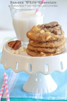 Banana White Chocolate and Cinnamon Toasted Pecan Cookies by @Jenny Flake, Picky Palate