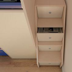 """#Arredamento #Cameretta Moretti Compact: Collezione 2012 """"Team"""" > Kids – Soluzione a #Soppalco >> ks33 #scala con #cassetti http://www.moretticompact.it/kids.htm"""
