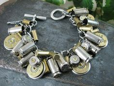 Handmade Spark - The Key of A - Shotgun and Bullet Casing Jewelry - Mixed Nickel & Brass Bullet and Shotgun Casing Loaded Charm Bracelet Jewelry Crafts, Jewelry Box, Jewelry Bracelets, Jewelry Accessories, Jewelry Design, Jewelry Making, Jewlery, Ammo Jewelry, Jewelry Ideas