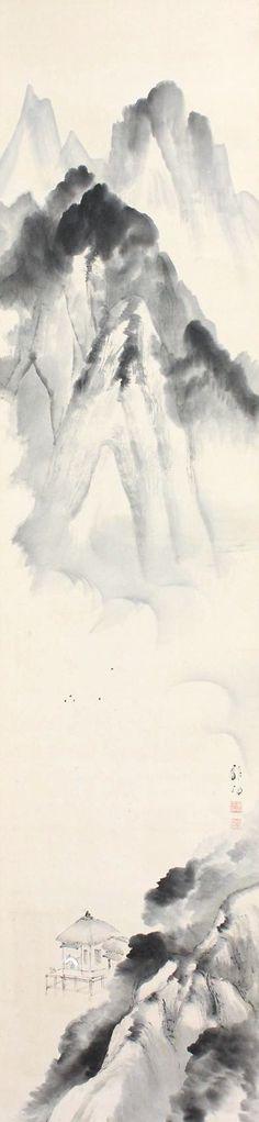 Landscape by Tsutaya Ryuko 蔦谷龍岬 (1886-1933), one scroll of two.