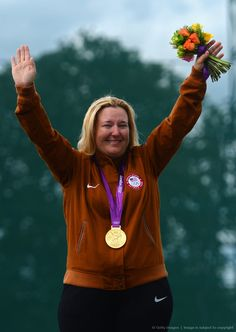 Image detail for -LONDON, ENGLAND - JULY 29: Kimberly Rhode of the United States poses with her gold medal after the Women's Skeet Shooting final on Day 2 on Day 2 of the London 2012 Olympic Games at The Royal Artillery