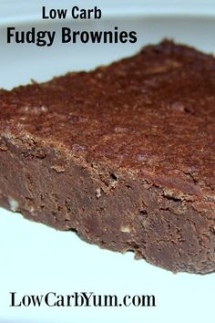 Fudgy low carb black bean brownies made with soybeans. The recipe is quick to prepare so you'll be enjoying this low sugar chocolate treat in no time. http://LowCarbYum.com