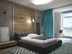 Для отделки стен использовано необработанное дерево. Стиль  примечателен именно черновой отделкой, никакого глянца, кроме хромированного блеска труб или элементов мебели.