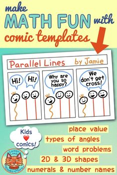 Blog Post: check out these great ideas for teaching with comic templates in the classroom for math, science, language arts, and other subjects. Kids will love writing funny or informational comic strips, stories, books, and graphic novels! Article includes tips for using a variety of printable comic layouts. #comics #classroom, #teaching #writing #comicstrips