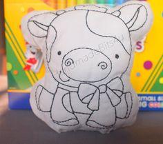 DoodleIts  Doodle It  Cow  Washable Softie  by HandmadeBits4u