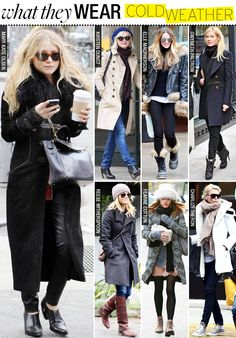 What They Wear: Cold Weather - Celebrity Style and Fashion from WhoWhatWear...Lots of fur and boots for fall!
