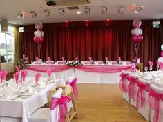 Hot Pink Wedding Decorations done at the Fry Club, Keynsham, Bristol Pink Wedding Decorations, Reception Decorations, Wedding Themes, Wedding Colors, Event Decor, Wedding Favours, Wedding Reception, Wedding Parties, Hot Pink Decor
