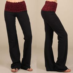 The VIVIENNE lace-waist bootcut pant - RED/PINK Lace-waist bootcut pants.  Fabric Cotton/Spandex 95/5 Jersey Made in USA. PINK (S & M) & BURGUNDY (M & L) Pants