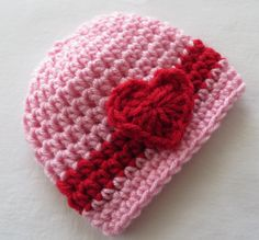 Crochet PINK VALENTINE Hat Beanie * HEARTS * Baby Girls * Valentines Day Props * Preemie - Toddler Props * Baby Shower Gift * crochet hat by kimcrochetcreations on Etsy https://www.etsy.com/listing/216956063/crochet-pink-valentine-hat-beanie-hearts