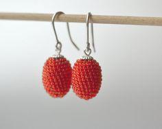 small oval earrings orange with silver hooks