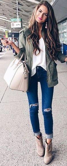 #fall #stylish #outfits   Utility Jacket + White Blouse + Ripped Denim
