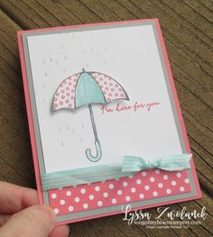 Ready to Make It? Rainy Day Card. Stampin' Up Umbrella Weather and  Weather Together stamp set and Sizzix framelits for the Big Shot. Cardmaking tutorials galore at Song of My Heart!