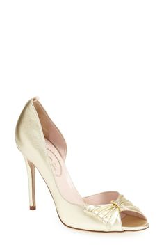 SJP by Sarah Jessica Parker SJP 'Doris' D'Orsay Pump (Women) (Nordstrom Exclusive) available at Gold Bridal Shoes, Bride Shoes, Wedding Shoes, Peep Toe Heels, Stiletto Heels, Shoes Heels, Sandal Heels, Gold Pumps, Women's Pumps