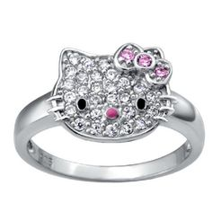 c969367a4 Cute Hello Kitty With Diamonds Women's Sterling Silver Ring - USD $62.95