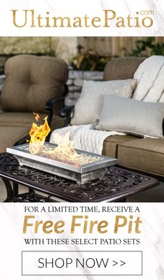 Receive a #free tabletop #firepit with the purchase of select conversational or dining patio furniture sets! Shop this deal for a limited time on UltimatePatio.com!