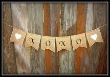 ~ XOXO ~ Script Burlap Wedding Banner/Garland ~ Hearts Rustic Country Handmade