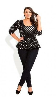 Plus Size Spotty Peplum Top - City Chic - City Chic