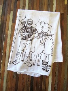 Tea Towel  Screen Printed Organic Cotton Flour by ohlittlerabbit