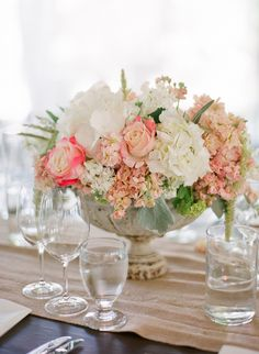 Peach and pink centerpieces