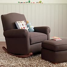 Adult Seating: Chocolate Brown Upholstered Rocking Nursery Chair in Rockers & Gliders | The Land of Nod