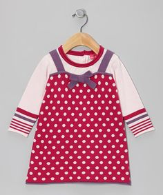 Take a look at this Beetroot Purple Polka Dot Layered Dress - Infant by Chapô Pointû on #zulily today!