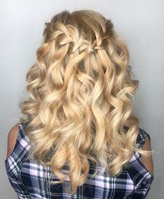 Waterfall braid. Braided hairstyles. Half up half down hairstyles.