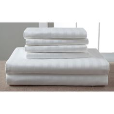 1200 Thread Rich Luxury Estate Woven Stripe 6 Piece Cotton Sheet Set by Elite Home Products - 120SSQU100ESWBO