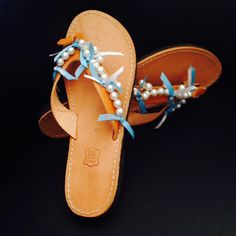"White pearls and turquoise ribbon for a very summery look! The plain leather sandals become much more colorful with these interesting decorations. Created in the ""Workshop for family friends and fun"" by Popi for her landlady!  http://workshop4fff.com/"