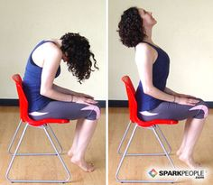 "5 & 6. Seated Cat/Cow Benefits: This complementary pair of poses stretches the entire spine and improves spinal mobility. By arching the back in ""cow"" pose, you stretch the front torso and chest. In rounded-back ""cat"" pose, you help to stretch the back of the torso and shoulders. If you have any neck or cervical spine issues, keep the neck in line with the torso throughout these poses.Begin by sitting up straight in a chair. Roll your shoulder blades back and down, arms relaxed at your…"