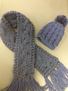 Baby boy hat and scarf set. Hand knitted with soft acrylic blend yarn. Many sizes... www.monidesignsinc.com
