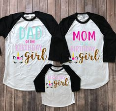 Please add all sizes to notes to seller portion of the order- EXAMPLE- DAD XL BLACK SLEEVE / MOM SMALL BLK SLEEVES / GIRL 4T PINK SLEEVES ADULT RAGLANS ARE UNISEX SO WOMEN ARE RECOMMEND TO SIZE DOWN FOR A BETTER FIT Unicorn birthday shirt, unicorn birthday, unicorn party, unicorn