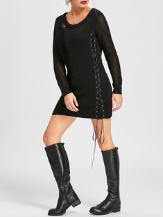 Distressed Lace Up Jumper Dress in Black Black Jumper Dress, Sweater Dresses, Types Of Dresses, Nice Dresses, Halloween Outfits For Women, Distressed Dress, Asymmetrical Sweater, Clothing Sites, Sammy Dress