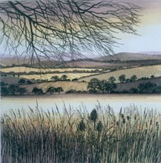 Over the Fields Etching by Kathleen Caddick