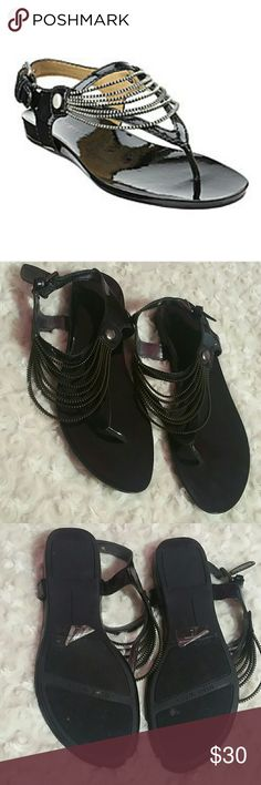 Nine West NWHawk Patent Leather Sandals - size 8 Excellent condition - I wore once and they sat in closet  since - they just don't look right on me - gladiator looking sandal with zipper detail (don't actually zip) - size 8M (8 medium) - black patent leather - still have stickers and fuzzies on sole - model is NWHAWK or Nine West Hawk Nine West Shoes Sandals