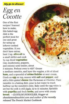 Eggs in the Oven (Eggs en Cocotte) — Cooking Lessons from | Eggs ...