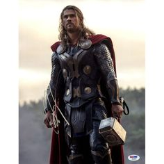 Chris Hemsworth Signed 11x14 Thor Photo Vertical with Hammer (PSA/DNA)( Signed In Silver)