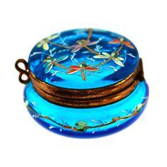 Antique Bohemian Moser Art Glass Pill Hinged Box Aqua Blue Enameled Drandonfly | eBay
