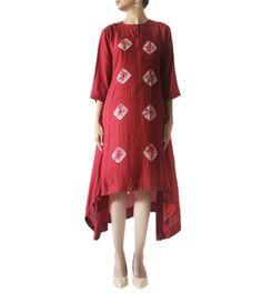 oon Cotton Silk Hand Tied Bandhej Pattern Kurti #ethnicwear #kurti #bandhej #cotton #silk #summer #indianroots