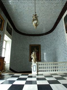 Nieborów Palace, Poland    Main staircase with Dutch tiles...  From...  http://a-l-ancien-regime.tumblr.com/post/45617077840/nieborow-palace-poland-main-staircase-with#