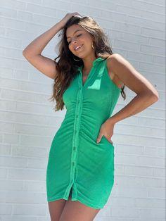 #collardress #buttonupdress #greendress #shimmerdress #minidresses New Arrival Dress, Button Up Dress, I Feel Pretty, Collar Dress, Green Dress, Collars, Woman, Mini, Womens Fashion