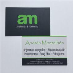 Tarjetas de visita, doble cara plastificado sectorial y mate - Andrés Montalbán