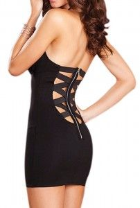 Sexy Black Deep V Zipper Back Sleeveless Cocktail Party Dress Clubwear One Size Black
