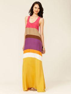 Silk Colorblock Maxi Dress by Ali Ro on Gilt.com