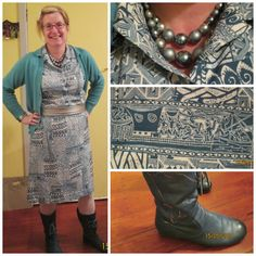 Vintage polyester shirt dress from Presbyterian Support worn with vintage Glengyle cardigan, vintage beads, retail belt, boots and tights.